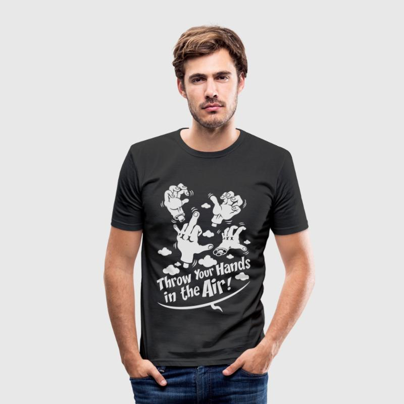 Black Throw your hands T-Shirts - Men's Slim Fit T-Shirt