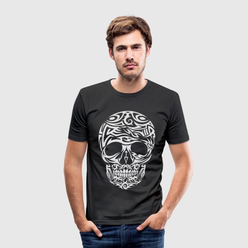 Tribal Tattoo Skull (White) Men's T-Shirt - Men's Slim Fit T-Shirt