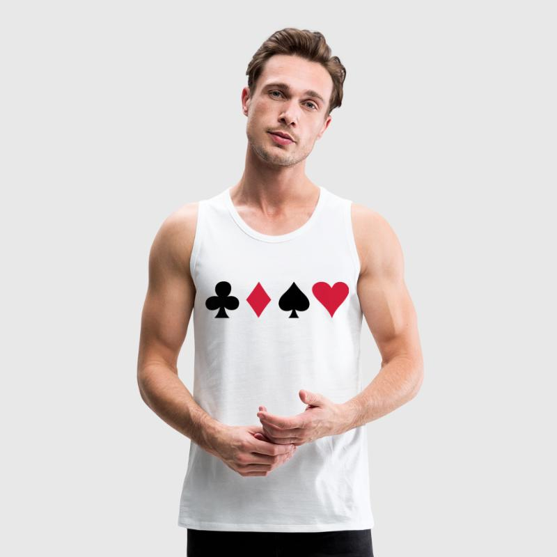 ALL FOUR poker cards card suits in a row T-Shirts - Men's Premium Tank Top