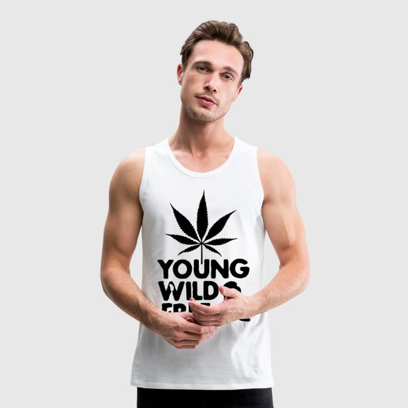 young wild and free weed leaf T-Shirts - Männer Premium Tank Top