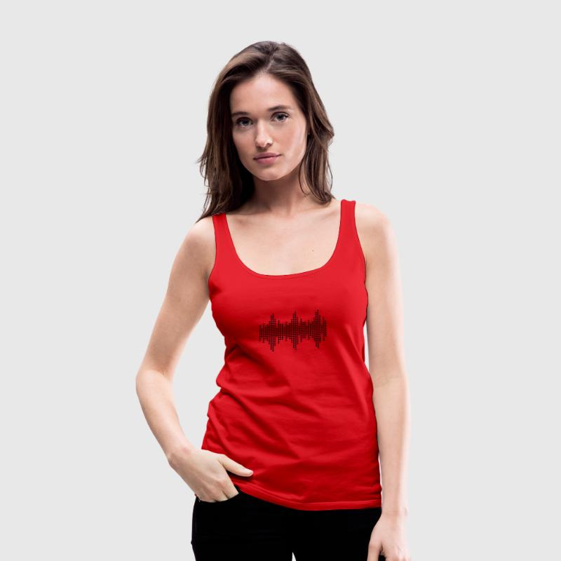 Red digital waveform frequency grid matrix music square Tops - Women's Premium Tank Top