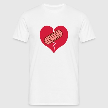 broken heart with bandaid - Men's T-Shirt