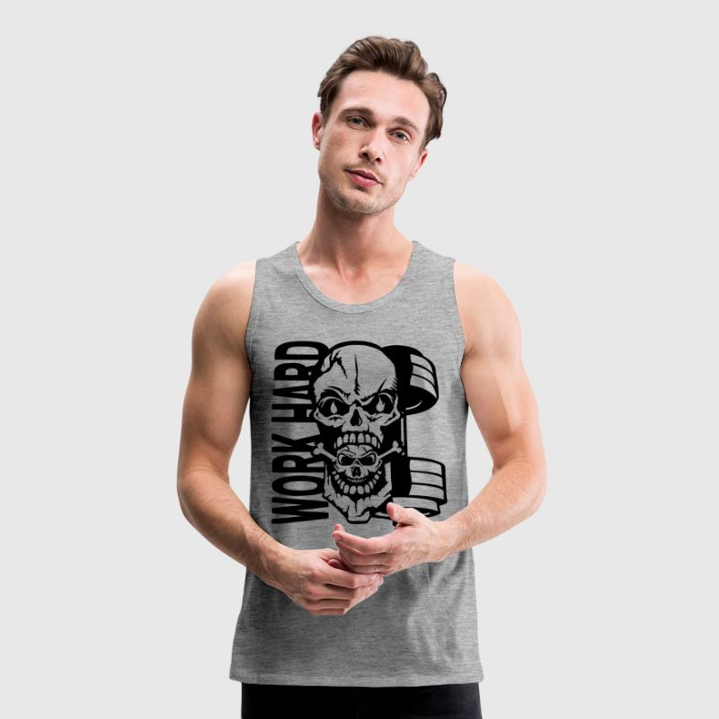 Work hard quote dead head muscle Sports wear - Men's Premium Tank Top