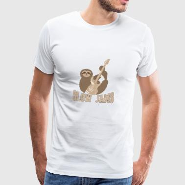 Slow Jams - fun bass guitar sloth gift Tops - Camiseta premium hombre