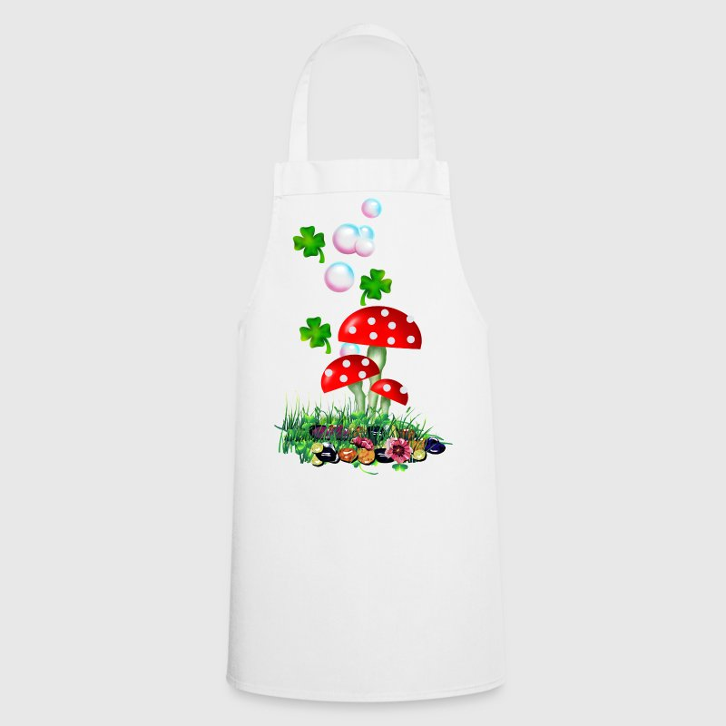White Fliegenpilze 'n Klee / Toadstool, soap-bubbles 'n clover (DDP)  Aprons - Cooking Apron
