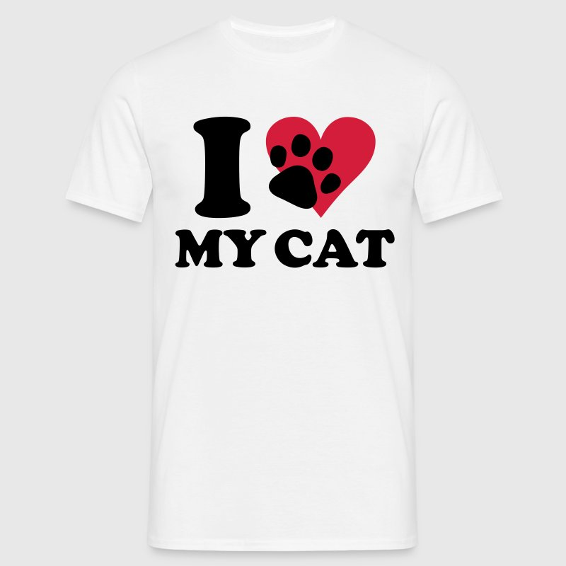 Wit I love my cat - kat, katten T-shirts - Mannen T-shirt