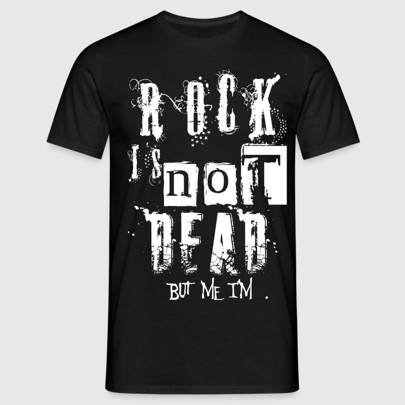 Noir Rock Is Not Dead (White) T-shirts - T-shirt Homme