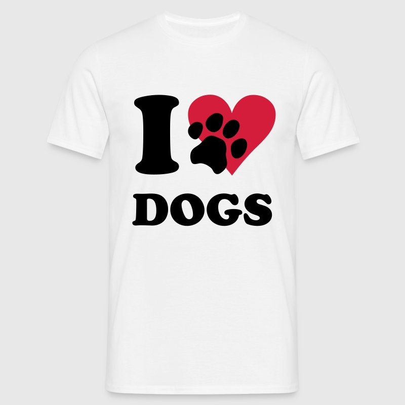 White I love dogs - dog Men's T-Shirts - Men's T-Shirt