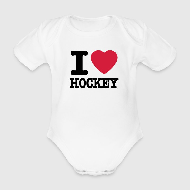 Wit i love hockey Baby body - Baby bio-rompertje met korte mouwen