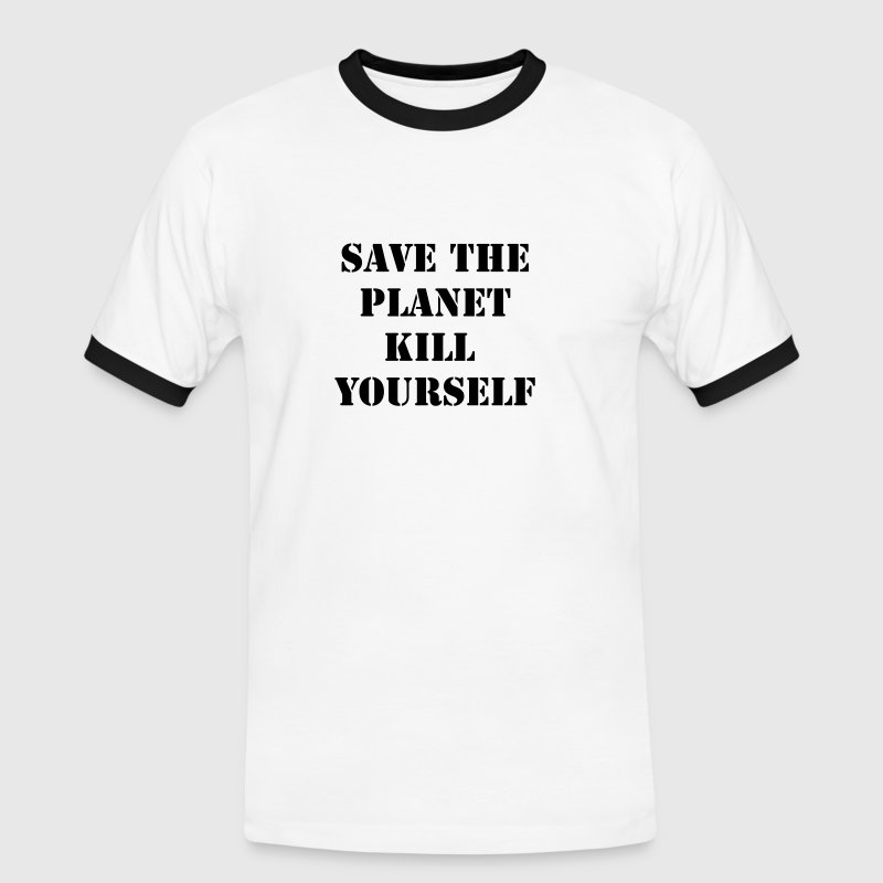 Blanc/marine save the planet kill yourself T-shirts - T-shirt contraste Homme