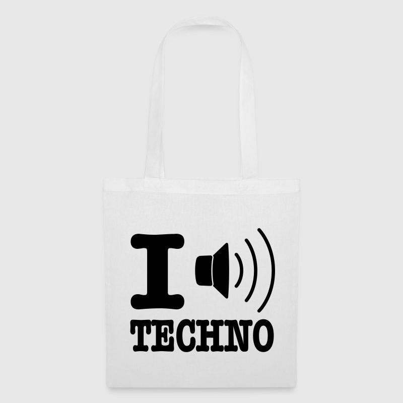 Wit I love techno / I speaker techno Tassen - Tas van stof
