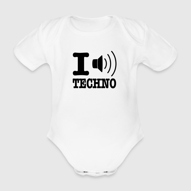 White I love techno / I speaker techno Baby Bodysuits - Organic Short-sleeved Baby Bodysuit
