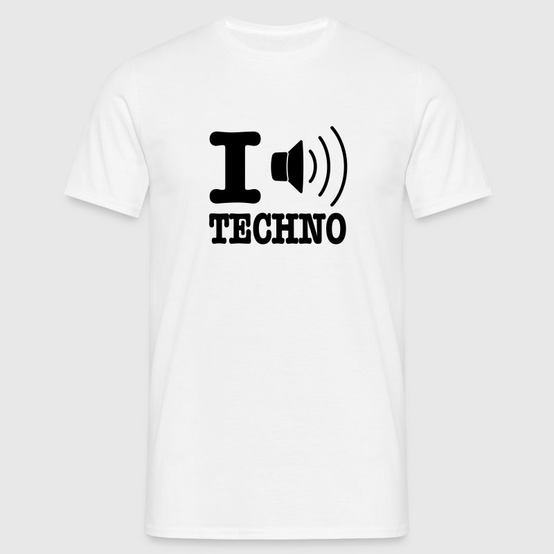 Blanc I love techno / I speaker techno T-shirts - T-shirt Homme