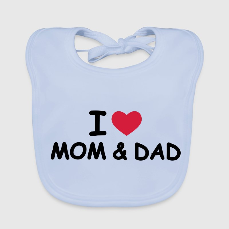 I Love Mom and Dad - Ekologisk babyhaklapp