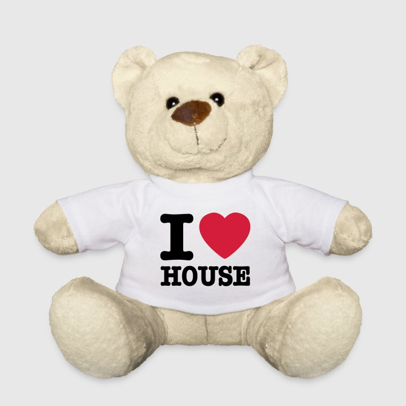 White I love house / I heart house Teddies - Teddy Bear