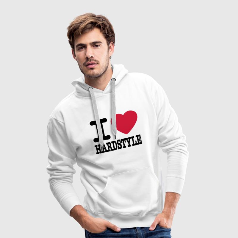 Wit I love hardstyle / I heart hardstyle Sweaters - Mannen Premium hoodie