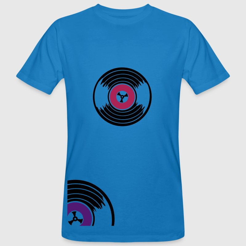 Peacock-blue Viertel Schallplatte / quarter vinyl records (2c) Men - Men's Organic T-shirt