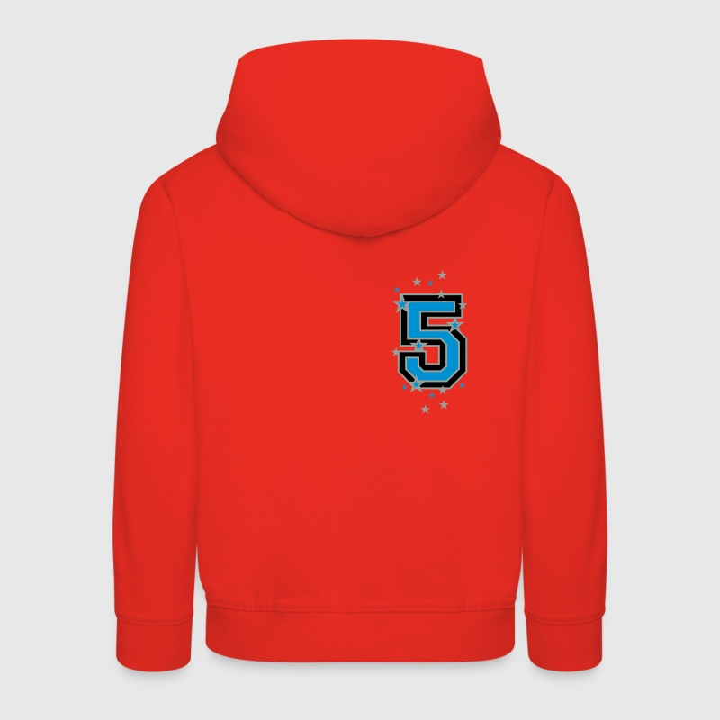 Red The number 5 and stars Kids' Tops - Kids' Premium Hoodie