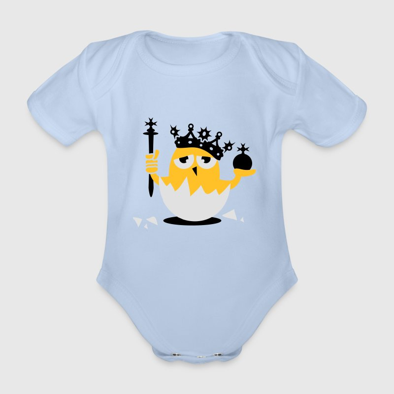 Red Chick king with crown and scepter Baby Bodysuits - Organic Short-sleeved Baby Bodysuit