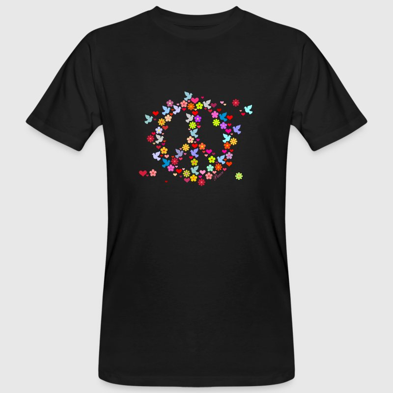 Nero Flower Power pace / flower power peace (DDP) T-shirt - T-shirt ecologica da uomo