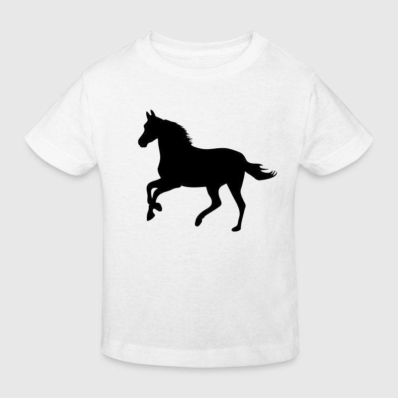 White Horse pony riding race horses - foal - small horse  Kids' Shirts - Kids' Organic T-shirt