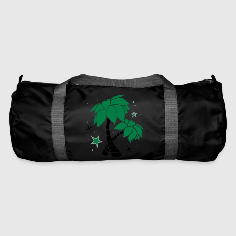 Emerald green Two palm trees on the beach Bags  - Duffel Bag