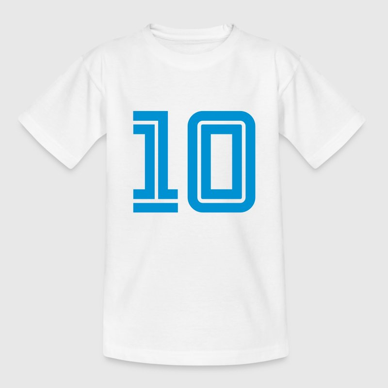 Weiß 10 Zahlen football fútbol Fußball Sports numbers Basketball race - eushirt.com Kinder T-Shirts - Teenager T-Shirt