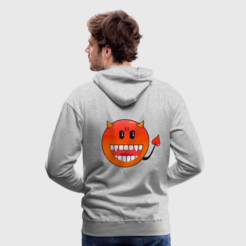 Gris chiné diable Emoticon / devil smiley (A1, DDP) Sweatshirts - Sweat-shirt à capuche Premium pour hommes