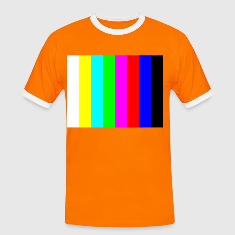 Orange/black Colour bars Men's T-Shirts - Men's Ringer Shirt