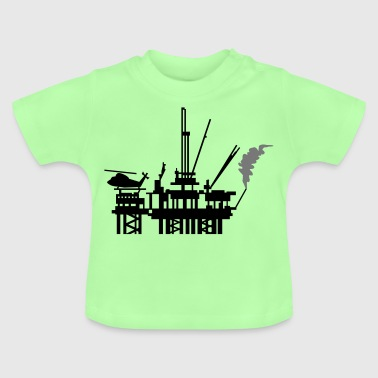 Light heather grey Ölplattform / offshore oil rig (2c) Kids' Tops - Baby T-Shirt