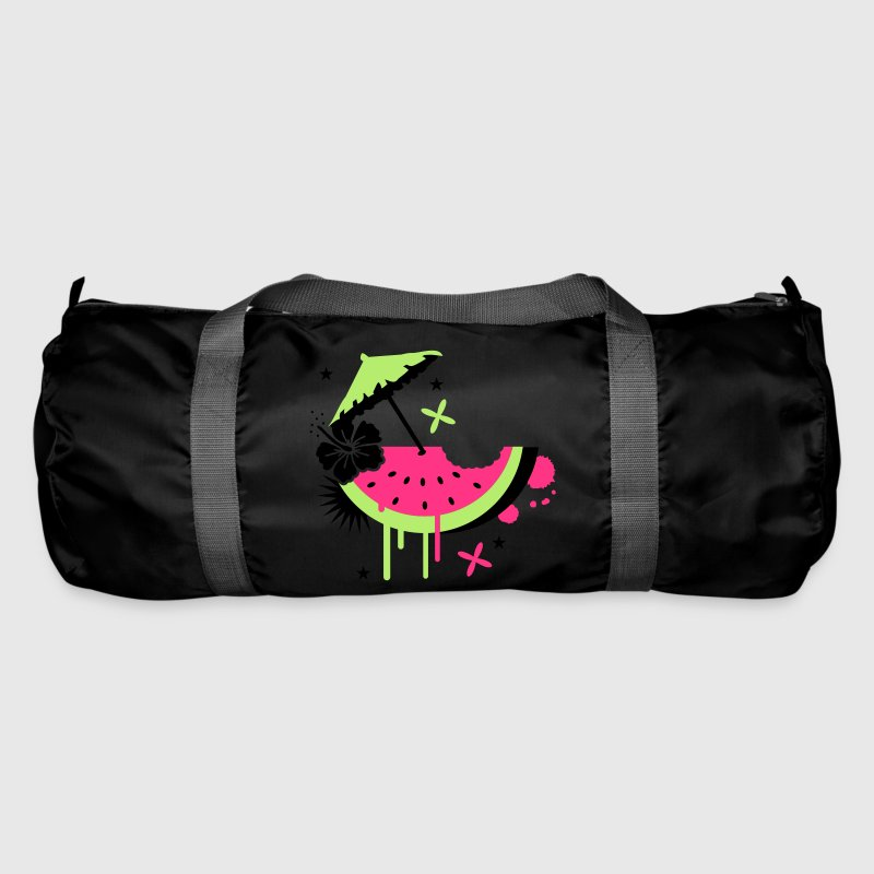 Black Melon with cocktail umbrella and hibiscus flower Bags  - Duffel Bag