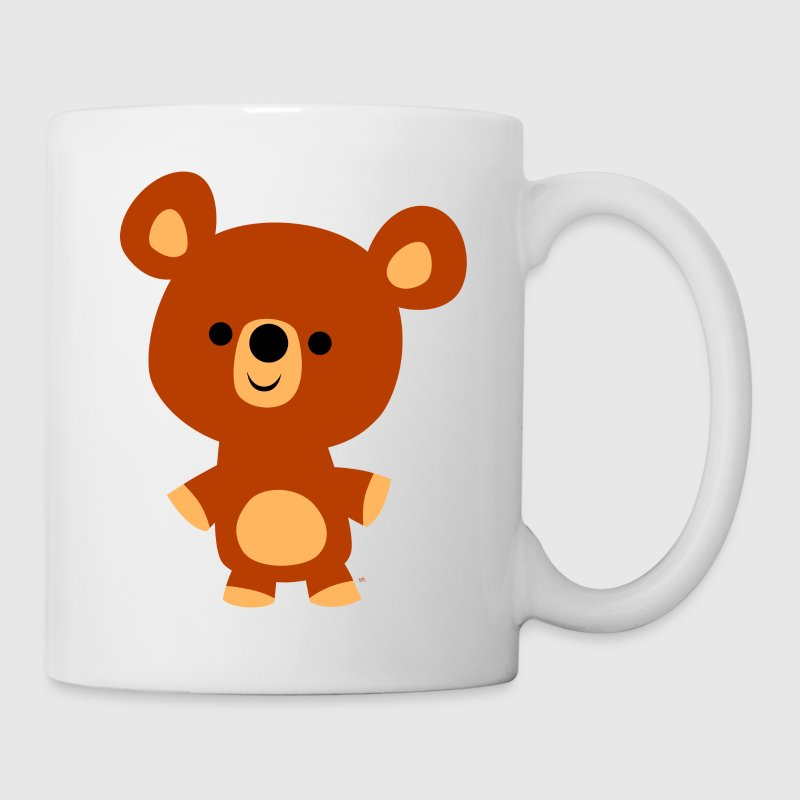 White Cute Friendly Cartoon Bear Cub by Cheerful Madness!! Mugs  - Mug