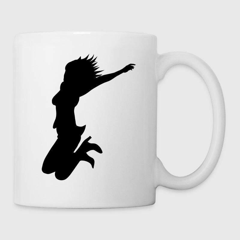 White silhouette woman jump Mugs  - Mug