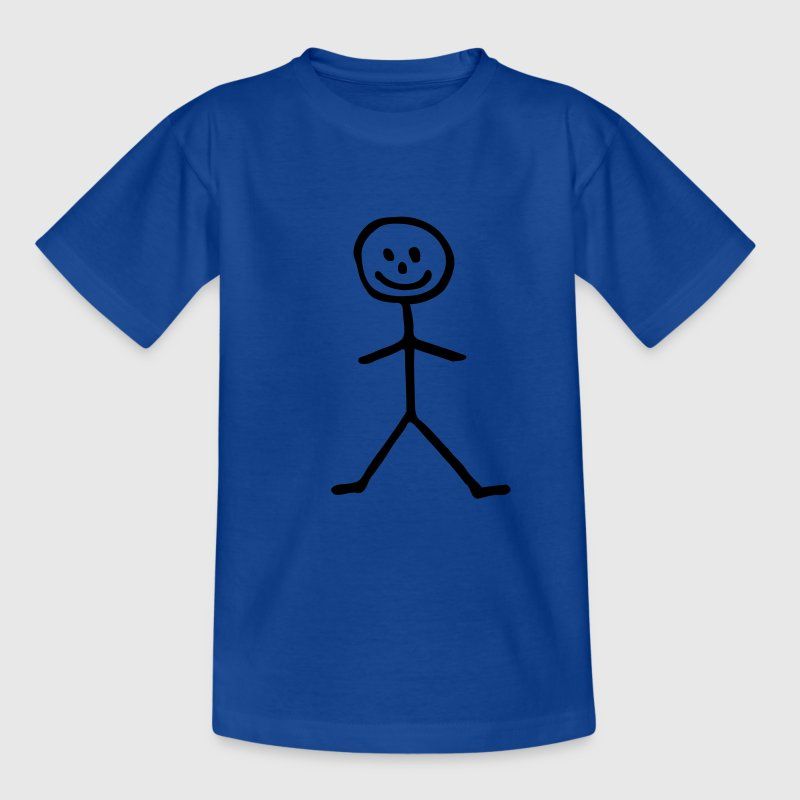 Royalblau Strichmännchen - Mann Kinder T-Shirts - Teenager T-Shirt