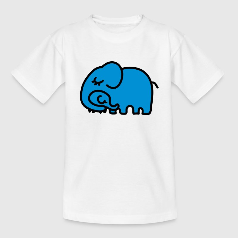 Weiß Mutter - Kind Elefant Kinder T-Shirts - Teenager T-Shirt
