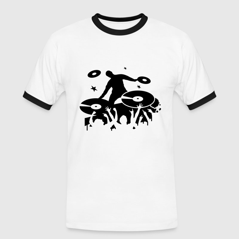 White/black DJ makes Party Men's T-Shirts - Men's Ringer Shirt