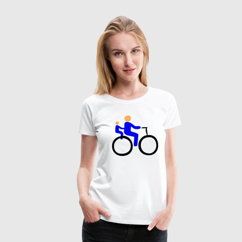 Wheel, bicycle, cyclist, bike, baby, boy, girl, boy, girl, diaper, sex, child, pair, wedding, grandchild, playground, crib, kindergarten, trains, more pregnant, pregnancy, parents, mother, father, granny, Grandpa, love, Buggy, child seat  - Women's Premium T-Shirt