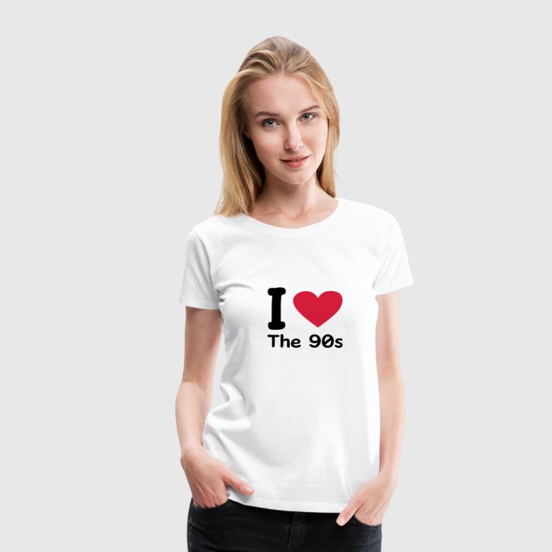 Wit I love the 90s T-shirts - Vrouwen Premium T-shirt