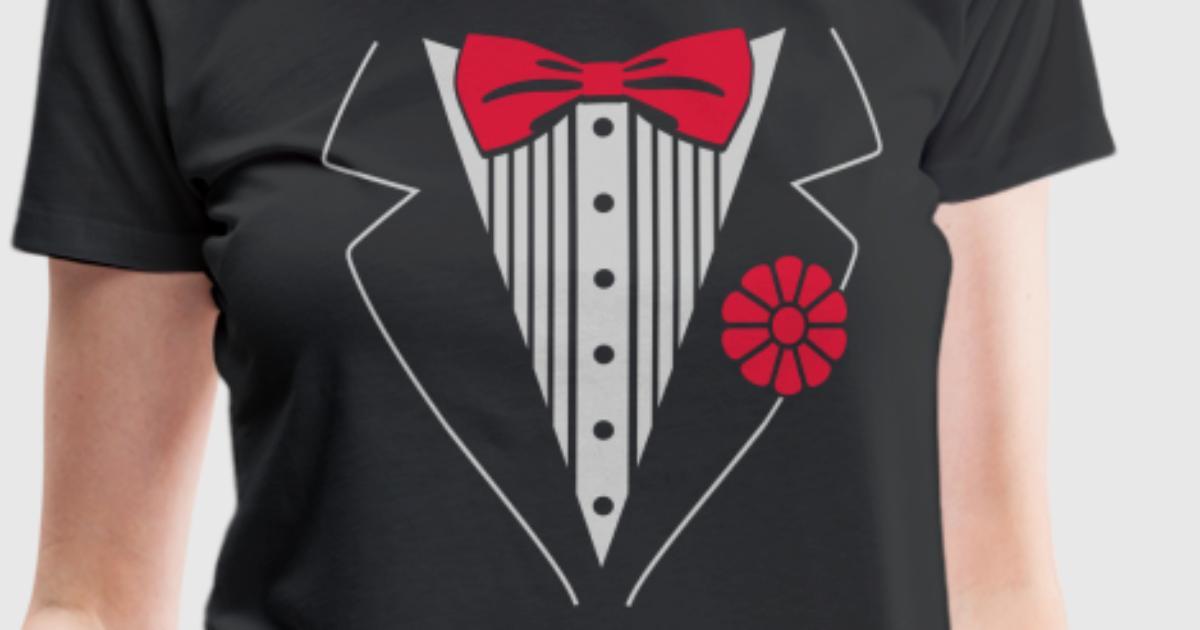 Tuxedo shirt t shirt spreadshirt for Tuxedo shirt vs dress shirt