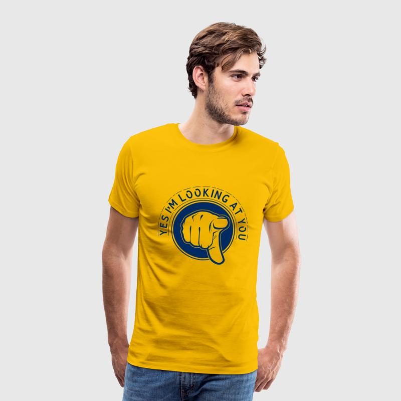 Yellow Yes I'm Looking At You Men's T-Shirts - Men's Premium T-Shirt