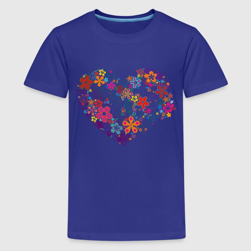FLOWER POWER HEART - Teenager Premium T-Shirt