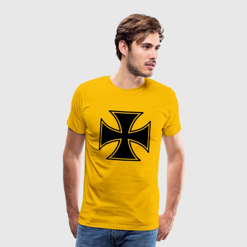 Yellow Iron Cross Men's T-Shirts - Men's Premium T-Shirt