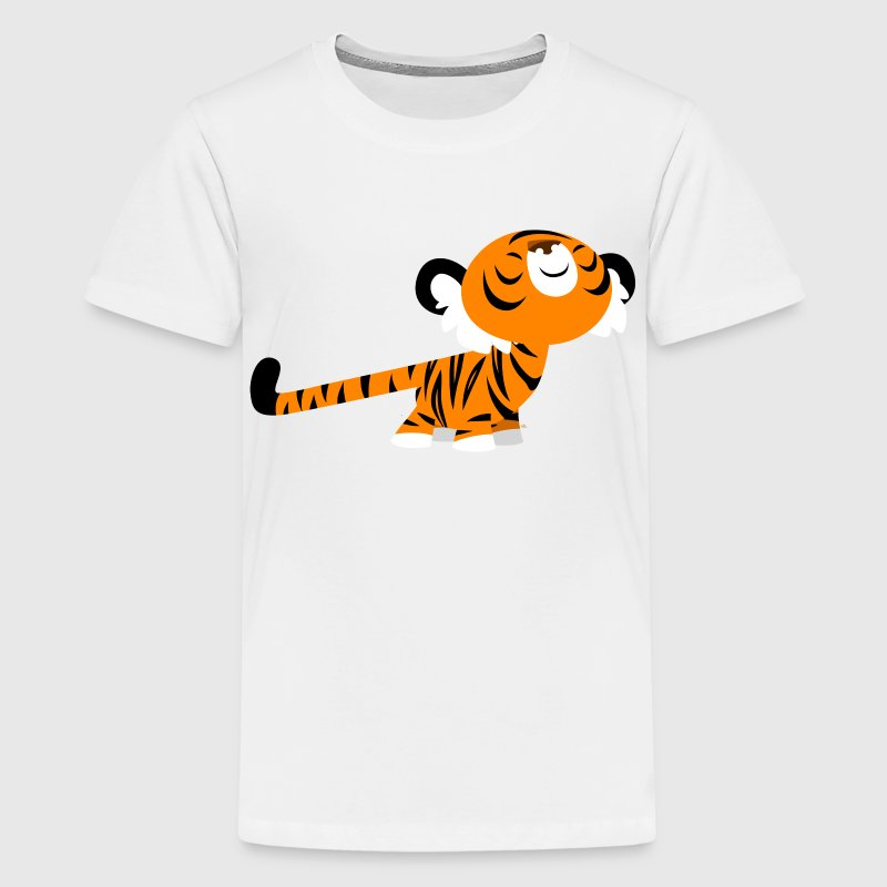 Yellow Cute Cartoon Stretching Tiger by Cheerful Madness!! Kids' Shirts - Teenage Premium T-Shirt