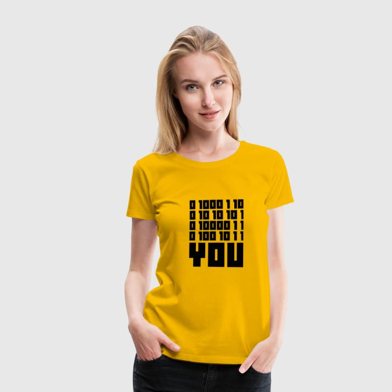 Gul FUCK YOU - Binary code T-shirts - Dame premium T-shirt