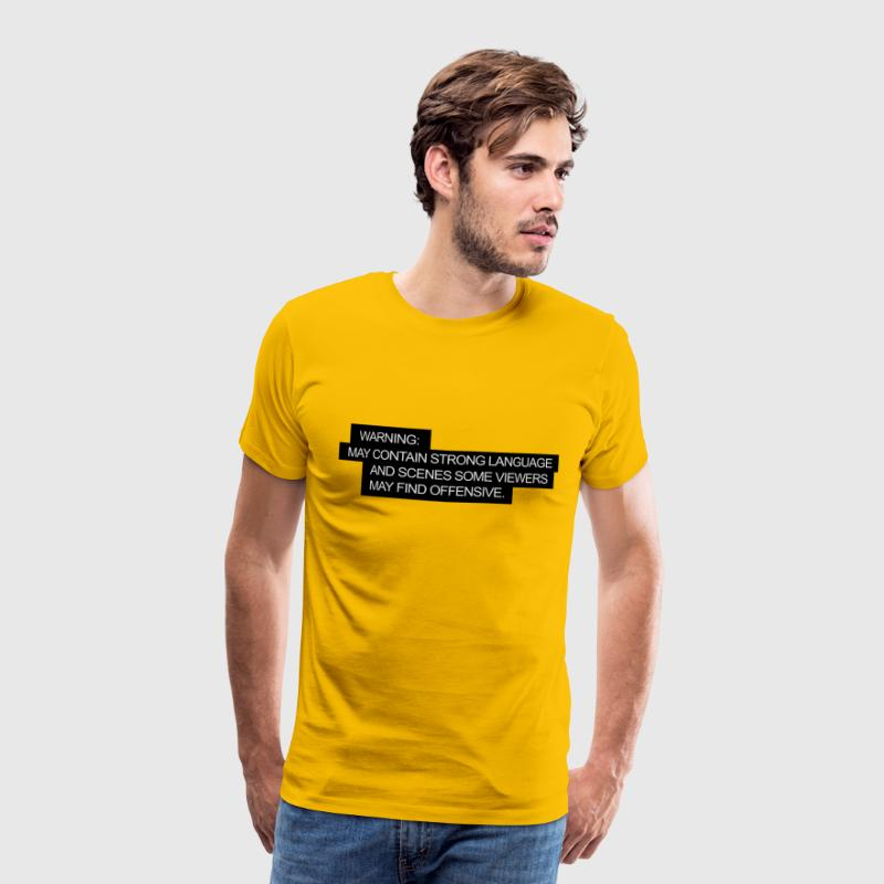 Yellow WARNING: may contain strong language Men's T-Shirts - Men's Premium T-Shirt