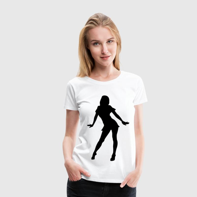 White silhouette girl dancer Women's T-Shirts - Women's Premium T-Shirt