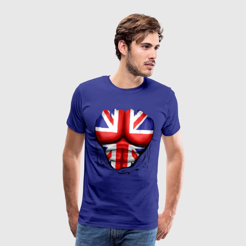 UK Flag Ripped Muscles, six pack, chest t-shirt - Men's Premium T-Shirt