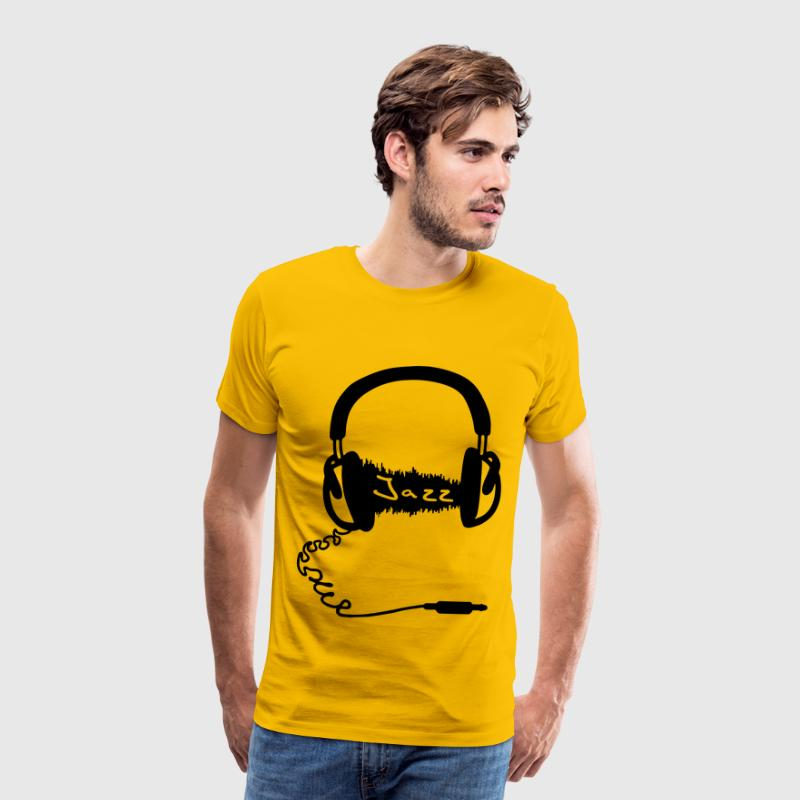 Headphones Audio Wave Motif: Jazz music Audiophile  T-Shirts - Men's Premium T-Shirt