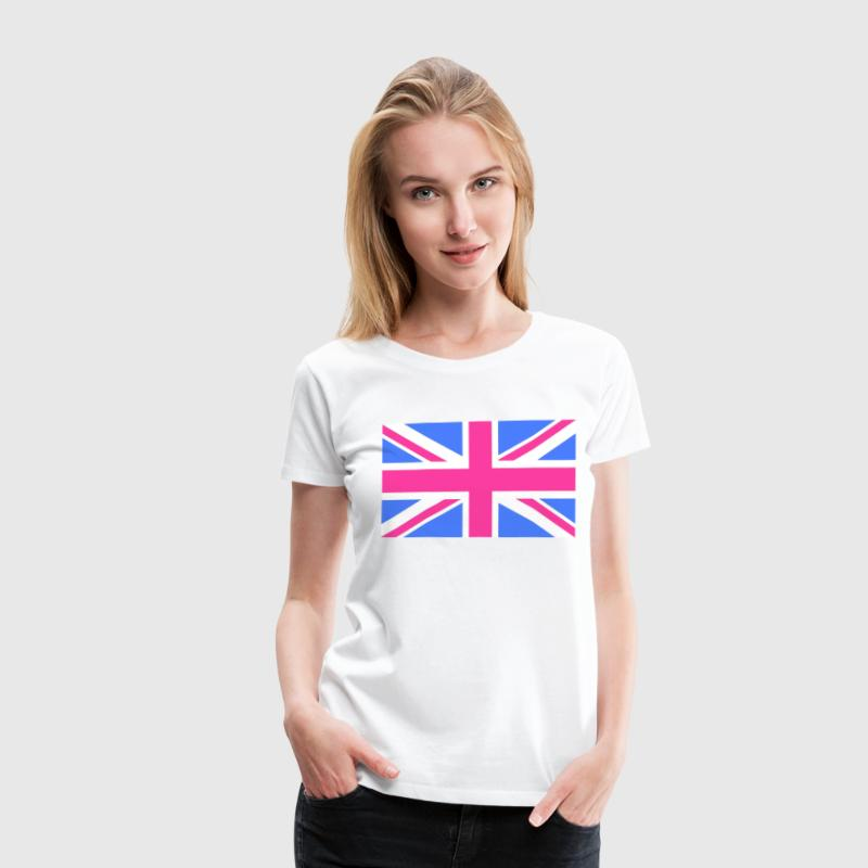 Union Jack Flag in Pink and Blue - Women's Premium T-Shirt