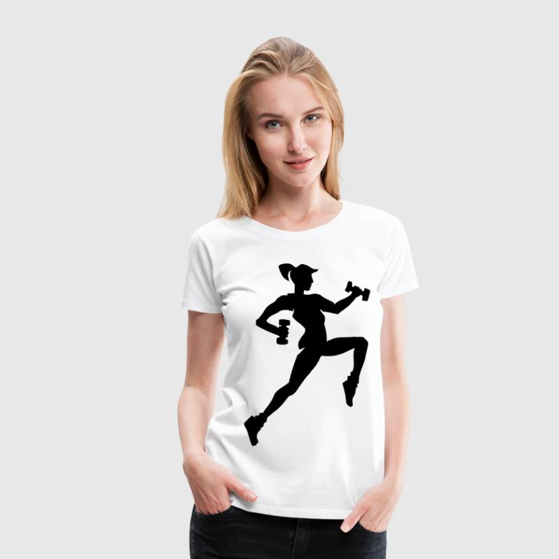 fitness logo workout sport T-Shirts - Frauen Premium T-Shirt